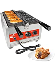 ALDKitchen Fish Shaped Taiyaki Maker   Stainless Steel Professional Taiyaki Iron with Nonstick Baking Molds   Fish Shaped Waffles   110V (6 Closed-Mouth)