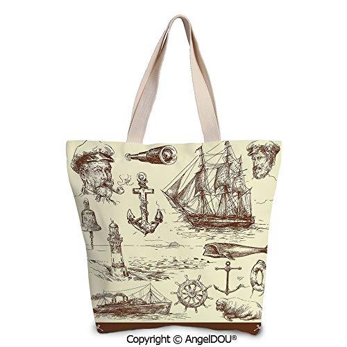 SCOXIXI Marine Navy Captains printed Tote Schoolgirl Bag Ladies Shopper Canvas