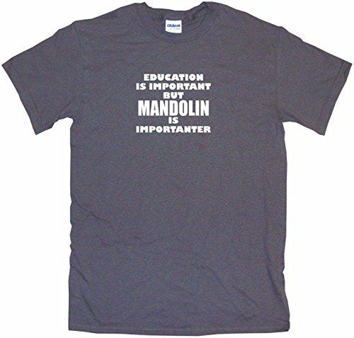 Education is Important But Mandolin is Importanter Men's Tee Shirt Medium-Charcoal