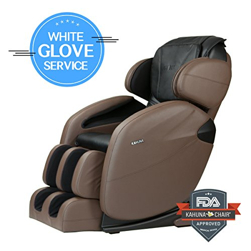 Space-Saving Zero-Gravity Full-Body Kahuna Massage Chair Recliner LM6800 with 6 Auto programs & Heating therapy (Brown WG)