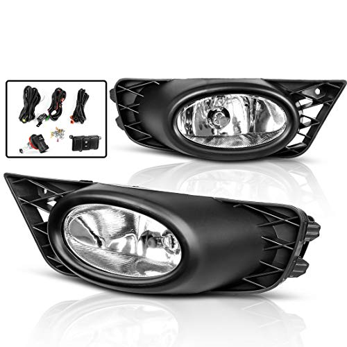 Fog Lights For Honda Civic Sedan 2009 2010 2011 (Real Glass Clear Lens with Bulbs & Wiring Harness)