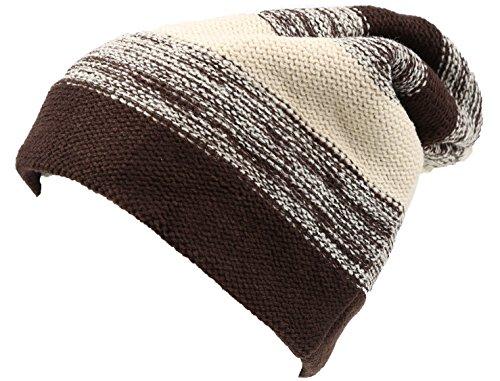 Sakkas 16146 - Balmn Long Tall Classic Striped Heather Faux Fur Lined Unisex Beanie Hat - Brown/Cream - - Beanie Lined Striped