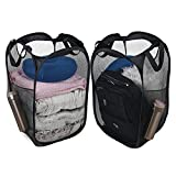 Pop-Up Laundry Hamper , Collapsible Laundry Hamper Mesh Basket with Reinforced Handles and Side Pockets, Pack of 2 ,Black
