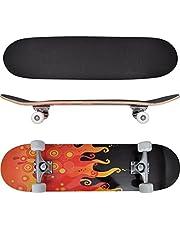 vidaXL Oval Shape Fire Design 8 Skateboard - Red/Black