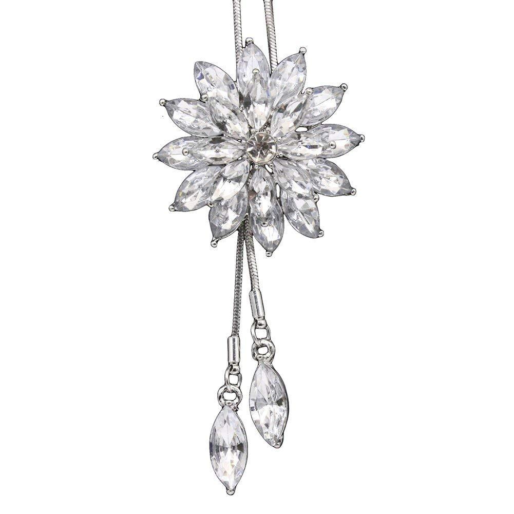 Premium Quality Womens Luxury Shiny Rhinestone Snowflake Pendant Long Chain Sweater Necklace