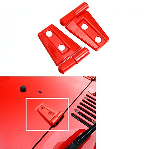 Bentolin 2Pcs Hood Hinge Cover Trim For Jeep Wrangler JKU unlimited 2007-2017 (Red)
