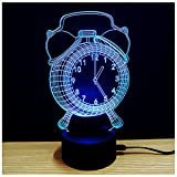 3D Illusion Lamp Alarm Clock Night Light 7 Colors Glows with Smart Touch Switch USB Cable(White)