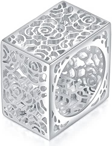 Mytys Silver-tone Hollow Flower Filigree 15mm Square Band Rings