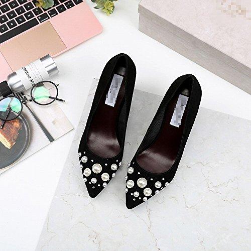 Boca de Baja Zapatos de de Negro Cuero Mujer Punta Perla HH Altos con Tacones de Individuales de de Zapatos Primavera qxABpYw