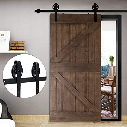Door Hardware Accessories - Bonnlo 8FT Barn Door Hardware Kit, No Noise Steel Sliding Barn Door Track Hanging Door Hardware Set, Savings Room for Interior & Exterior - Fit 42