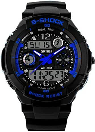 Boys Girls Digital-analog Multifunction Outdoor Sports Wrist Watches Chronograph Watch Blue