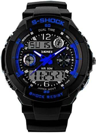 Boys Girls Digital-analog Multifunction Outdoor Sports Wrist Watches Chronograph Watch Blue