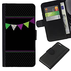 KLONGSHOP // Tirón de la caja Cartera de cuero con ranuras para tarjetas - Patrón Negro Diamante - Apple Iphone 5C //