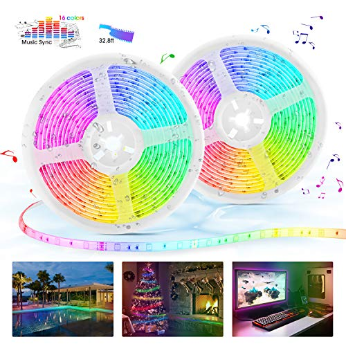 LED Strip Lights with Remote, 32.8ft LED Music Sync Tape Lights kit 5050 RGB Color Changing Light Strip with IP65 Waterproof, 300LEDs Rope Light for Bedroom, Room, Party, Mood Tape Lighting (Rob Led Kit)