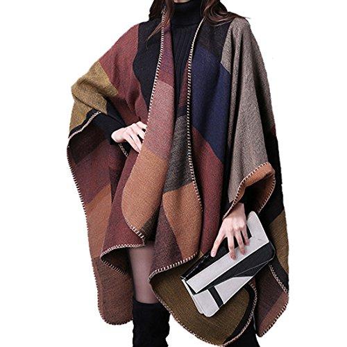Harmony Life Oversized Blanket Poncho Cape Open Front Shawl Cardigans Winter Warm Warm Scarf (Khaki) (Glamour Poncho)