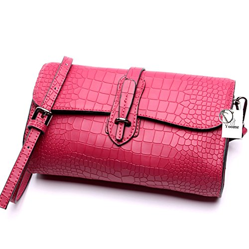 Yoome Women's Fashion Designer Satchel Handbags Cowhide Croco Shoulder Bags Briefcases With Shoulder Strap - Rose
