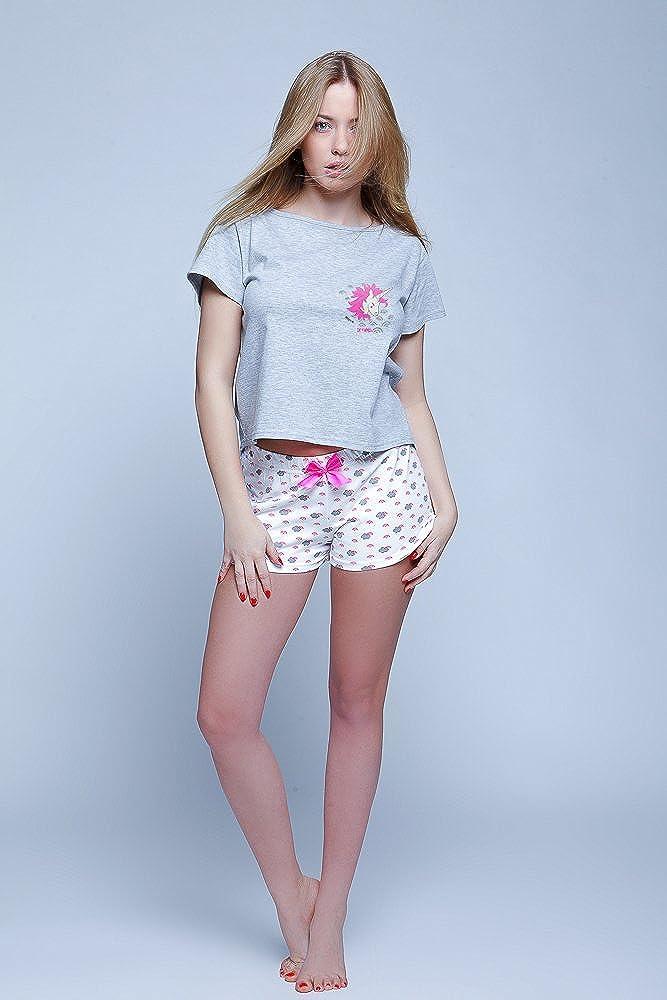 Made in EU Sensis stillvoller Baumwoll-Shorty Pyjama Hausanzug aus Stylischem Shirt und koketten Shorts