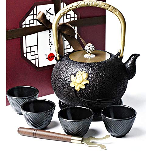- KIYOSHI Luxury Traditional Japanese Cast Iron Teapot Set 8 Pieces - Tea Kettle (40,57Oz) + 4 Iron Cups + Trivet + Wood Lid Holder - Gift Box - 100% Hand Made - American FDA Approved (Golden Flower)