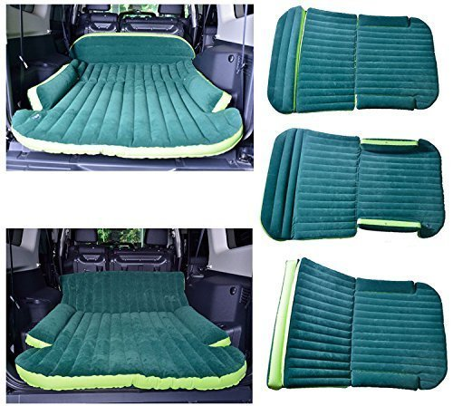 WOLFWILL SUV Dedicated Mobile Cushion Extended Travel Mattress Air Bed Inflatable Thicker Back Seat (Green) 3 The car inflation bed is divided into three parts, which can be blew up separately, and the user can adjust the inflation volume as needed. Easy to carry, easy to deflation, the mattress can be inflated fully and deflated convenient within two minutes Unfolded volume: length 71-59 inch; width 51-46.5 inch; Thickness: 2-4.7 inch. Folded Volume: 11x9.4x6 inch. Heavy duty travel mattress , streamline design, three-piece folding, special design on the position of tires Made of compound, breathable and eco-friendly PVC material, which is non-toxic, smell-less, safe. Very soft and comfortable, the surface feels like feather. Reversible plus material with double-sided flocking, environment-friendly
