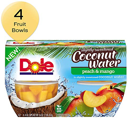 DOLE FRUIT BOWLS, Peach and Mango in Slightly Sweetened Coconut Water, 4 Ounce (4 Cups)