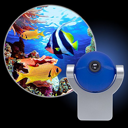 Projectables Tropical Fish LED Plug-In Night Light, 11296, Image Projects Onto Wall or Ceiling