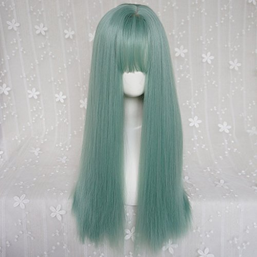 Flat Marbles Net - HUACANG Women's green long straight hair wig heat-resistant top cosplay party masquerade wig, flat mouth fringe daily use party wig