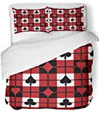Emvency 3 Piece Duvet Cover Set Breathable Brushed Microfiber Fabric Red Black 12 Plaid Pattern with The Four Playing Suits Checkerboard Blackjack Bedding Set with 2 Pillow Covers Twin Size