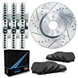 Front + Rear Silver Slotted & Cross Drilled Rotors and Carbon Pads Brake Kit TA035313 | Fits: 2005 05 2006 06 Honda CR-V