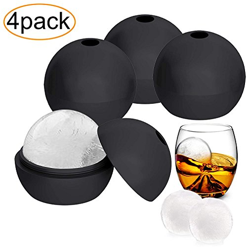 4 Pack Silicone Ice Cube Tray, Flexible & Durable Sphere Round Ice Cube Molds, Makes 2 Inch Ice Balls ()