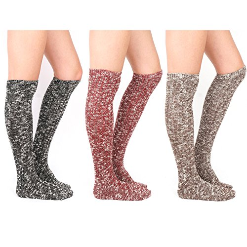Tan Wool Boots - WOWFOOT Women's Knee High Wool Socks Soft Warm Thick Thermal Girl Winter Cushion Crew Quarter (A-Muti Pack 3pairs(Black,Wine,Dark-Brown))