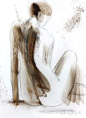 (Nude Female Sketch Print, Charcoal Nudity Drawing, Woman Figure Artwork, Bedroom Decor)