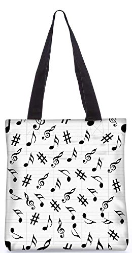 Tote Bag Snoogg Black Music 13,5 X 15 In Shopping Tote Bag In Poliestere