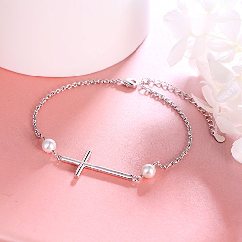 S925 Sterling Silver Sideways Cross Adjustable Link Bracelet for Women ''Mother's Day Gift'' by SILVER MOUNTAIN (Image #2)