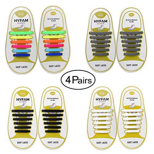 (HYFAM No Tie Shoelaces for Kids, Waterproof Silicone Tieless Flat Elastic Shoe Laces for Sneaker Boots Board Shoes and Casual Shoes)