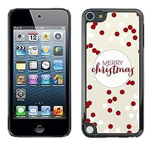 rígido protector delgado Shell Prima Delgada Casa Carcasa Funda Case Bandera Cover Armor para Apple iPod Touch 5 /Merry Christmas Red White Winter Xmas/ STRONG