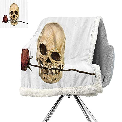 (Gothic Decor Collection Lightweight Microfiber Blankets,Skull with Dry Red Rose in Teeth Anatomy Death Eye Socket Jawbone Halloween Art,Ivory White,Warm Breathable Comforter for Girls Kids)