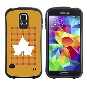 LASTONE PHONE CASE / Suave Silicona Caso Carcasa de Caucho Funda para Samsung Galaxy S5 SM-G900 / Maple Golden Brown Plaid