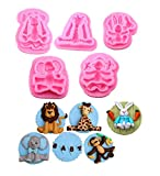 PalkSky (5 In Set ) Animal Molds Silicone Fondant Cake Decorating Supplies chocolate mold clay mold ——Monkey 、Rabbit、Elephant、Giraffe、Lion