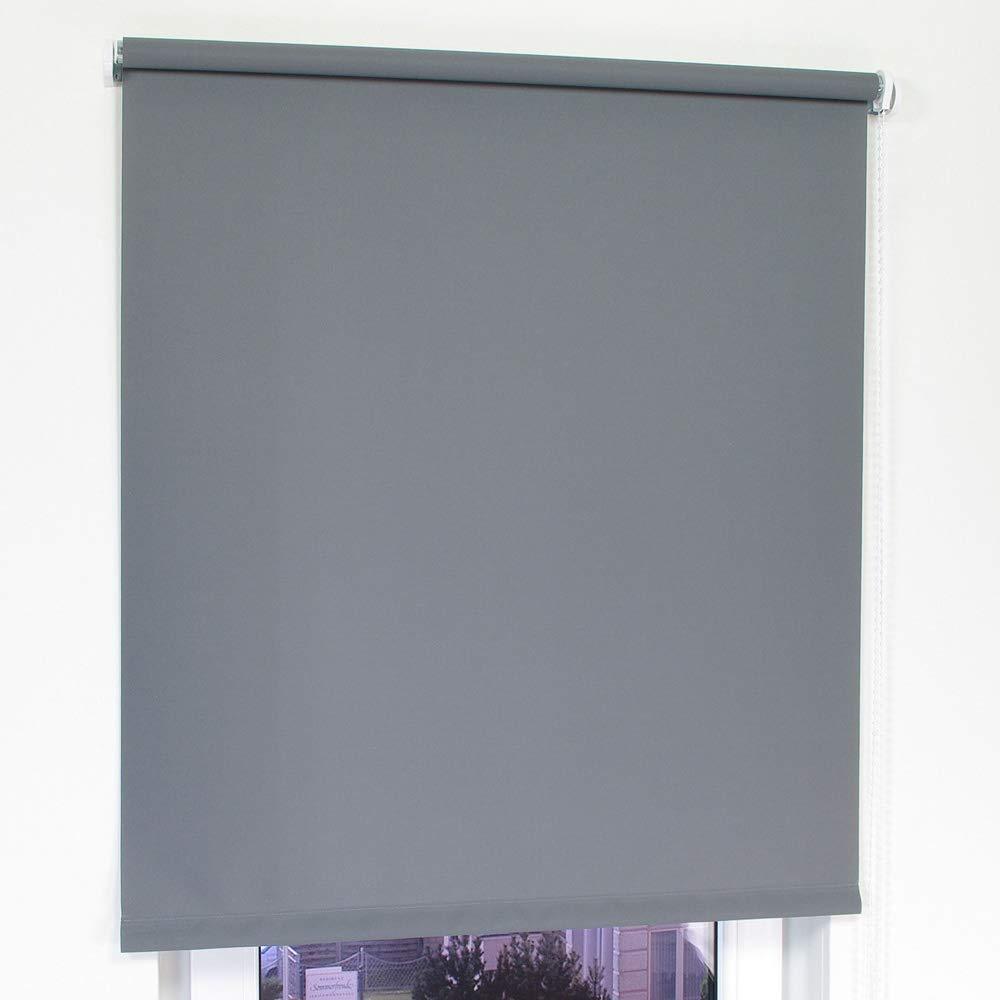 Dekologi Rollo Seitenzugrollo Breite 182 cm x 180 cm Höhe in Farbe 143 dunkelgrau Sichtschutzrollo Rollos lichtdurchlässig Standard 182x180