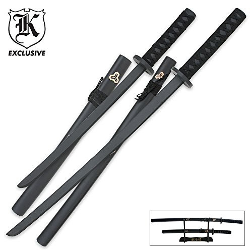 BudK Exclusive 2-Piece Samurai Warrior Wood Sword Set