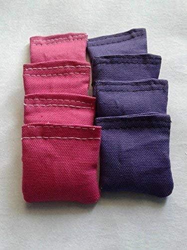 4 Inch Mini Cornhole Bags Pink and Purple Set of 8