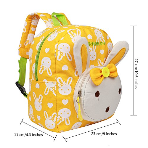 EGOGO Conejo Animales Niños Mochila Kinder mochilas/ Infantil Mochila para Niños Niñas Bebés E525-1 (Amarillo)