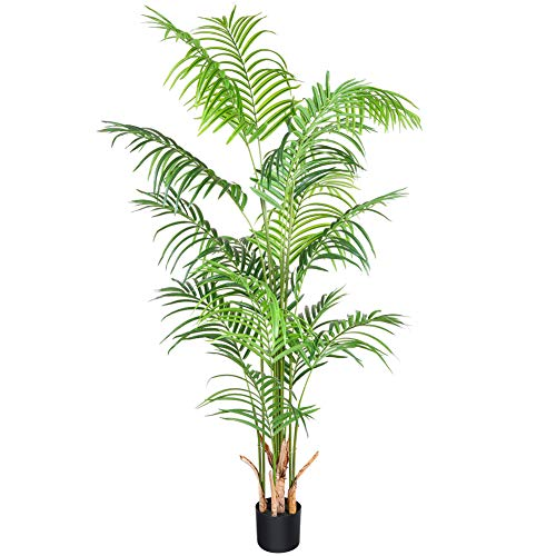 CROSOFMI Artificial Areca Palm Plant 5.5Feet Fake Palm Tree with 15 Leaves Faux Yellow Palm in Pot for Indoor Outdoor House Home Office Modern Decoration Perfect Housewarming Gift-1Pack