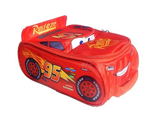 DISNEY CARS 3 McQUEEN Light-Up Lead Safe Insulated Race Car Lunch Tote Box Bag (Technology Red Race)