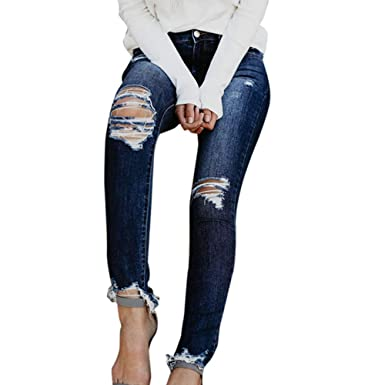 fc8303bf957b8 Kehen New Women Junior Distressed Ripped Stretchy Hight Waist Ripped Denim  Ankle Length Skinny Jeans Dark