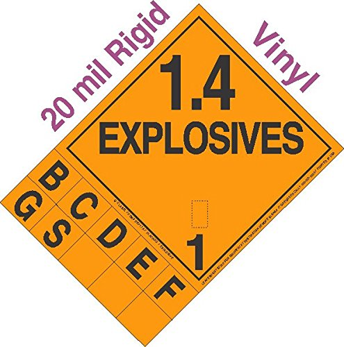 GC Labels-R14TAB-0350, Explosive Class 1.4 NA or UN0350 Tabbed 20mil Rigid Vinyl DOT Placard, each Placard
