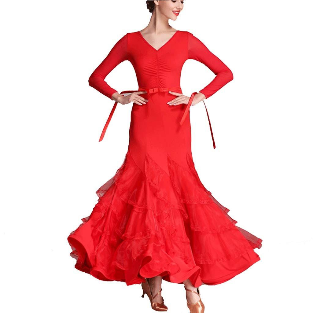 Rouge XXL Jupe de Spectacles de Danse de Salle de Bal Simple Moderne Et Standard, Robe à Col en V Waltz Et à Manches Longues