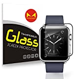 (US) Apple Watch Tempered Glass Screen Protector, MYECOGO [3D Full Coverage]Iwatch 38mm Tempered Glass Film for Apple Watch All Models Series 1 Series 2 Sport Edition Nike+(38mm Full Coverage )