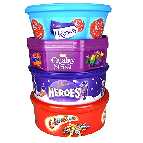 Christmas Chocolate Tubs - 4 PACK - Roses, Heroes, Quality Street AND Celebrations - Nearly 3Kg of chocolate! by Healthy Foods Online