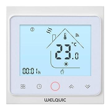WELQUIC Termostato Inteligente WiFi 7 Días Programable Digital Patalla Táctil Temperatura Precisa Control Conexión entre Amazon
